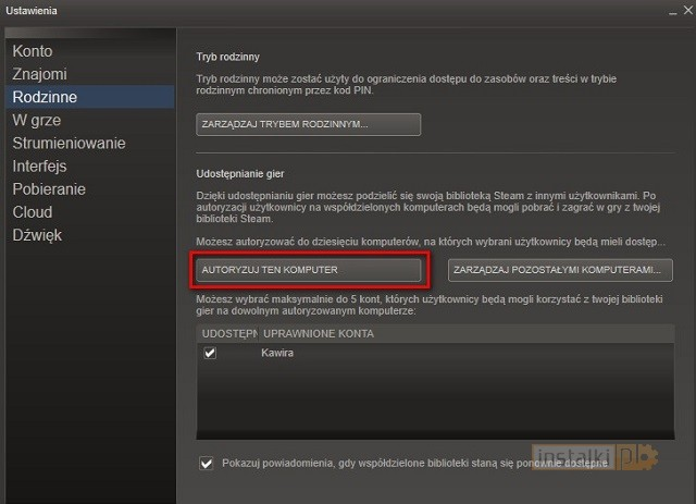how to get family sharing on steam