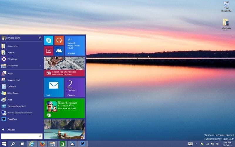 menu start windows 10 preview