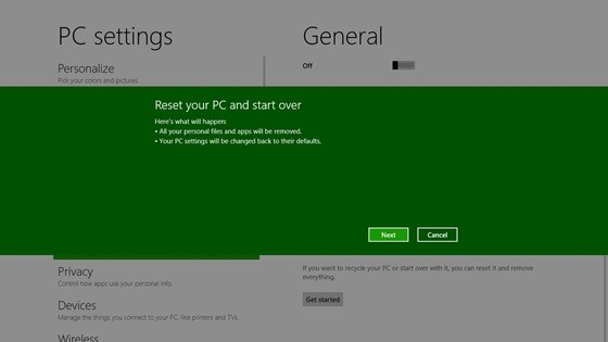 Windows8 - Reset your PC