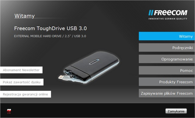 Freecom ToughDrive Start Menu