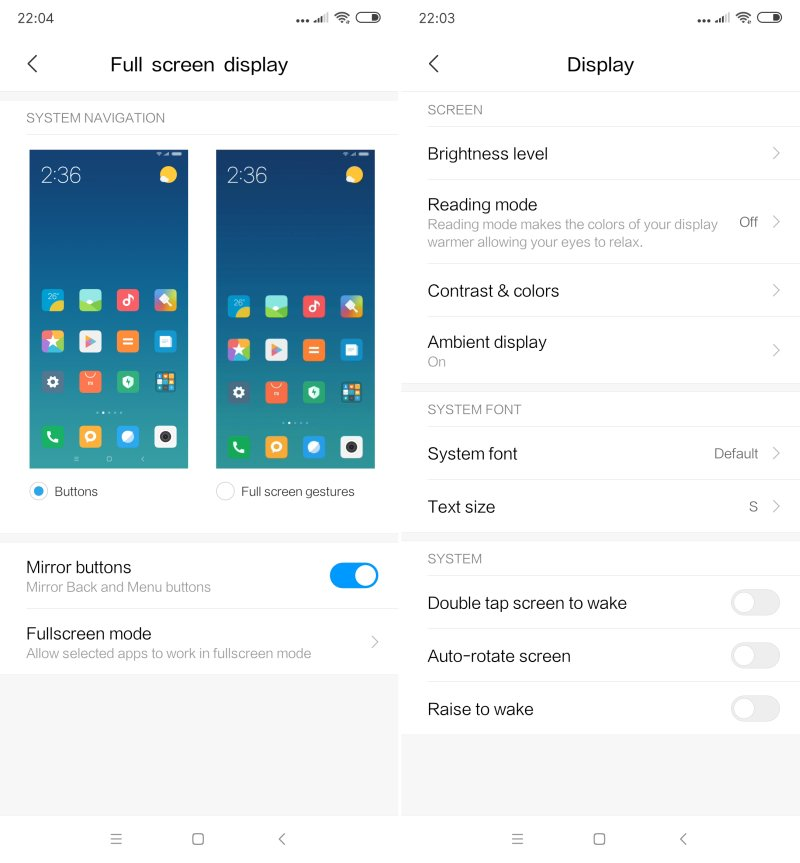 Mi MIX 3 display settings