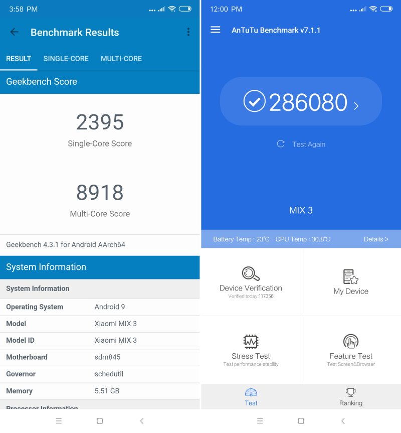 mi mix 3 benchmarks