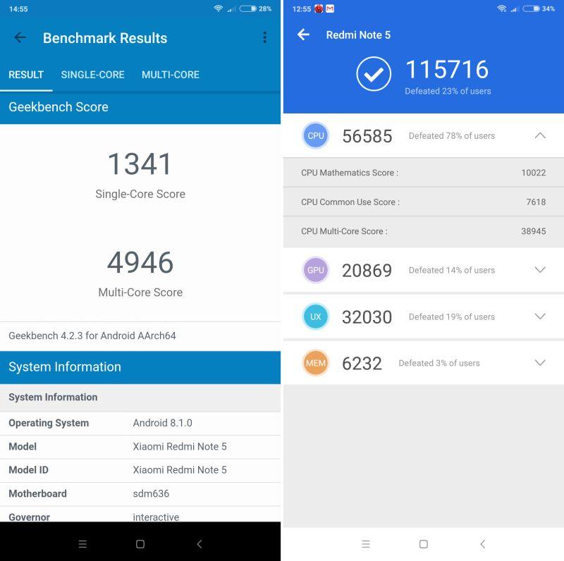 Redmi Note 5 wyniki benchmarkow